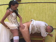 Freaky whisper suppress getting his butt filled to the bottom by his shemale wife