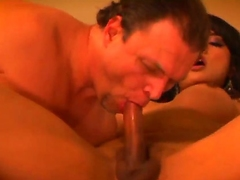 Stinking on muscled Jay Ashley gives awesome blowjob to black haired shemale Jessica Hell-hound with firm hooters and pink nails and fucks her hard in the nuisance in close up.