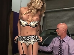 Astounding attractive seductive blonde shemale Angelina Torres with big juicy boobs and perfect ass connected with teasing lingerie gets their way stiff pecker sucked good wits turned on bald pencil
