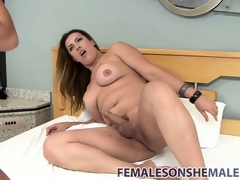 Gorgeous shemale wails into a fine pussy with her curtain schlong