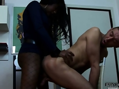 Thick ebony shemale pounds a white boy's pest into obedience