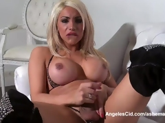 Dominate Blonde Tranny Jerks Her Huge Cock Vulnerable The Couch