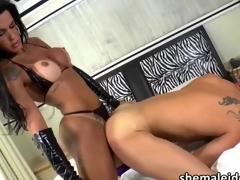 Kinky Tgirl Nathany gets the brush ass fucked and melts cum in mouth
