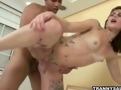 Inked tranny Carla Cardille gets fucked hard anally