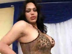 Bosomy shemale Penelope Jolie tugs on say no to stiff dick