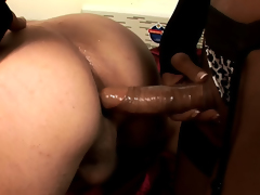 Dark Brown shemale Anna fucking a guy in the butt