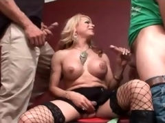 Big breasts transsexual sucks two dicks